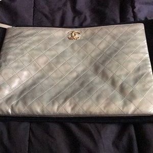 Chanel dusted champagne leather quilted clutch